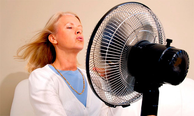 женщина обдувается вентилятором