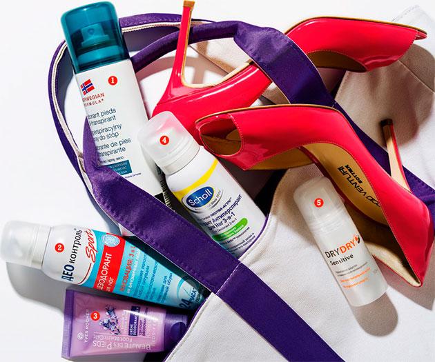 дезодоранты для ног в женской сумке